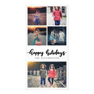 Five Photo | Casual Happy Holidays Black Script Card