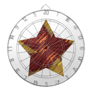 Five Point Golden Red Star Dartboard With Darts