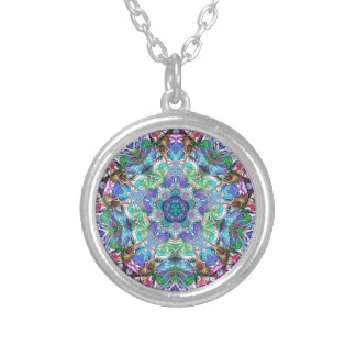 Five Points of Color Abstract Silver Plated Necklace