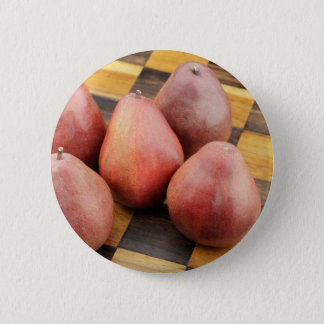 Five Red Pears on a Wooden Chessboard 2 Inch Round Button