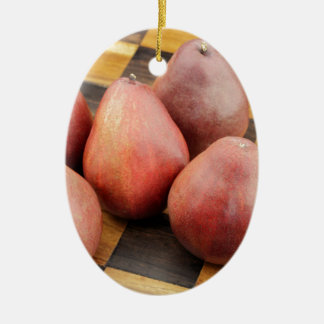 Five Red Pears on a Wooden Chessboard Ceramic Ornament