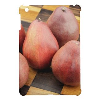 Five Red Pears on a Wooden Chessboard iPad Mini Cases