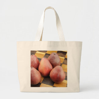 Five Red Pears on a Wooden Chessboard Large Tote Bag