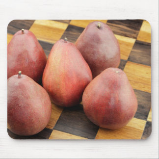 Five Red Pears on a Wooden Chessboard Mouse Pad