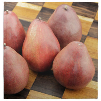 Five Red Pears on a Wooden Chessboard Napkin