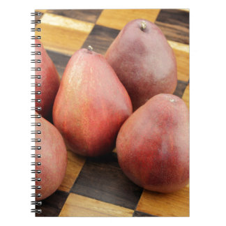 Five Red Pears on a Wooden Chessboard Notebooks