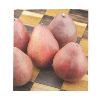 Five Red Pears on a Wooden Chessboard Notepad