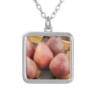 Five Red Pears on a Wooden Chessboard Silver Plated Necklace