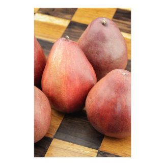 Five Red Pears on a Wooden Chessboard Stationery