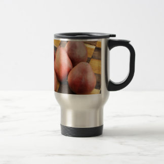 Five Red Pears on a Wooden Chessboard Travel Mug