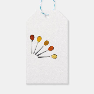 Five seasoning spices on metal spoons gift tags