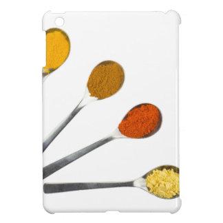 Five seasoning spices on metal spoons iPad mini cover