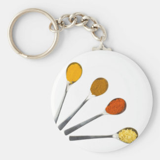 Five seasoning spices on metal spoons keychain