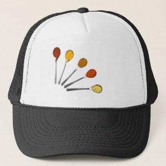 Five seasoning spices on metal spoons trucker hat