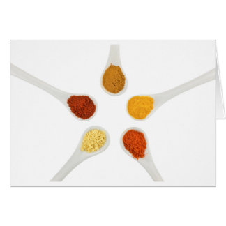 Five seasoning spices on porcelain spoons card