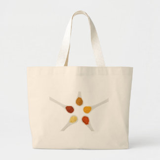 Five seasoning spices on porcelain spoons large tote bag