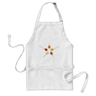 Five seasoning spices on porcelain spoons standard apron
