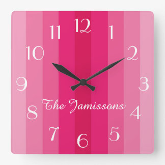 Five Shades of Pink, Clock, Personalized Square Wall Clock