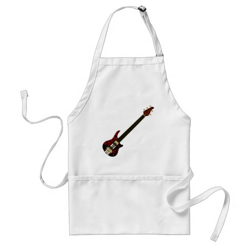 Five String Fretless Bass Guitar (red blob) Apron