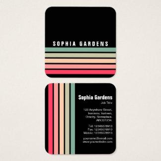 Five Stripes - Colors 01 - Black Square Business Card
