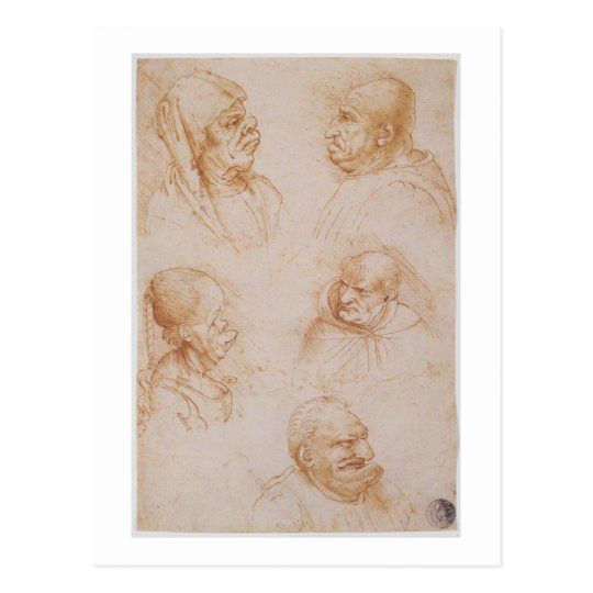 Five Studies of Grotesque Faces (red chalk on pape Postcard