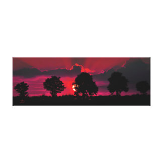 Five Trees against a Sunset Greetings Card. Canvas Print