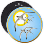 Five Tropic Birds and Sun Magnet Button