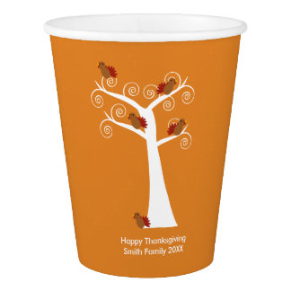 Five Turkeys in a Tree Thanksgiving Personalize Paper Cup