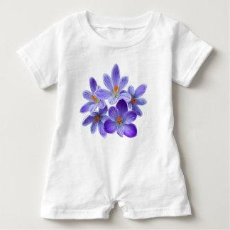 Five violet crocuses 05.0, spring greetings baby romper