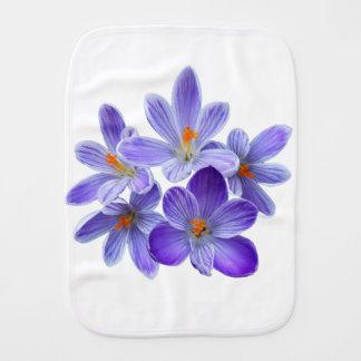 Five violet crocuses 05.0, spring greetings burp cloth