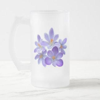 Five violet crocuses 05.0, spring greetings frosted glass beer mug