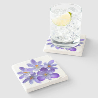 Five violet crocuses 05.0, spring greetings stone coaster