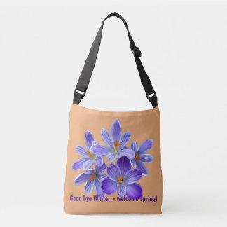Five violet crocuses 05.4.T, spring greetings Crossbody Bag