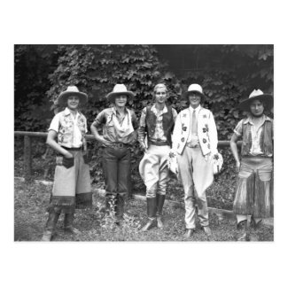 Five women at the dude ranch postcard