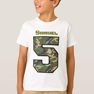 Five Year Old4th Birthday Camo Custom Name V031 T-Shirt