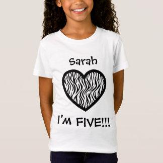Five Years 5th Birthday Black Zebra Heart V033N T-Shirt