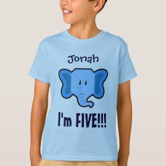 Five Years 5th Birthday Cute Elephant Face V130N T-Shirt