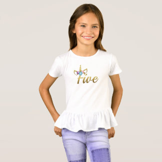 Five years old Unicorn Birthday Girl for Kids T-Shirt