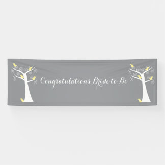 Five Yellow Birds in a Tree Bridal Shower Banner