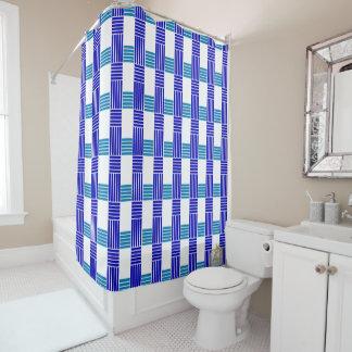 Fives Lines Cross Blues Shower Curtain Set