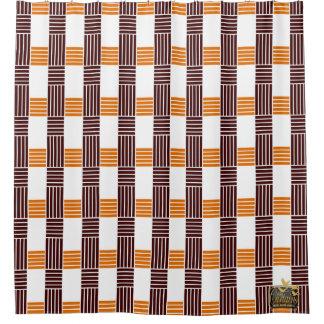 Fives Lines Cross Brown White Shower Curtain Set