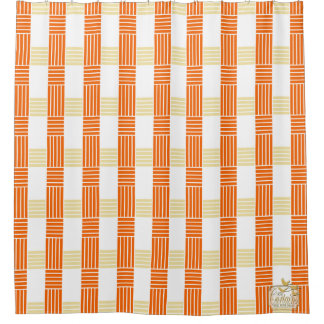 Fives Lines Cross Orange Shower Curtain Set,