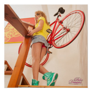 Fixed Gear Girl Up Stairs Bike Dreams Pinup Model Poster