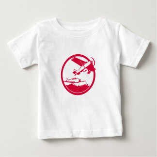 Fixed Wing Aircraft Taking Off Circle Retro Baby T-Shirt
