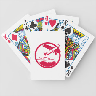 Fixed Wing Aircraft Taking Off Circle Retro Bicycle Playing Cards