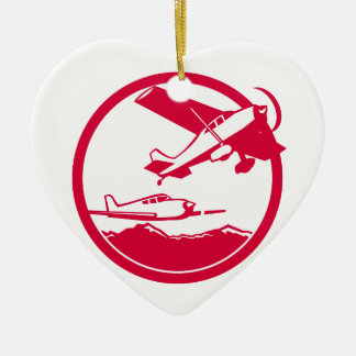 Fixed Wing Aircraft Taking Off Circle Retro Ceramic Ornament