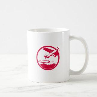 Fixed Wing Aircraft Taking Off Circle Retro Coffee Mug