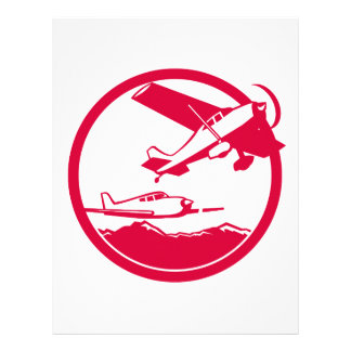Fixed Wing Aircraft Taking Off Circle Retro Letterhead
