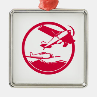 Fixed Wing Aircraft Taking Off Circle Retro Metal Ornament