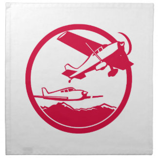 Fixed Wing Aircraft Taking Off Circle Retro Napkin